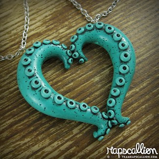 Teal Tentacle Heart Best Friends Necklace