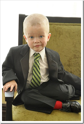 Ringbearer with red socks