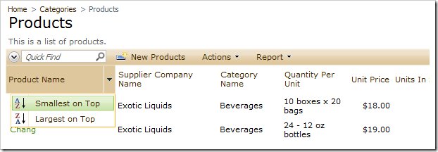 Product Name column with filtering options disabled.