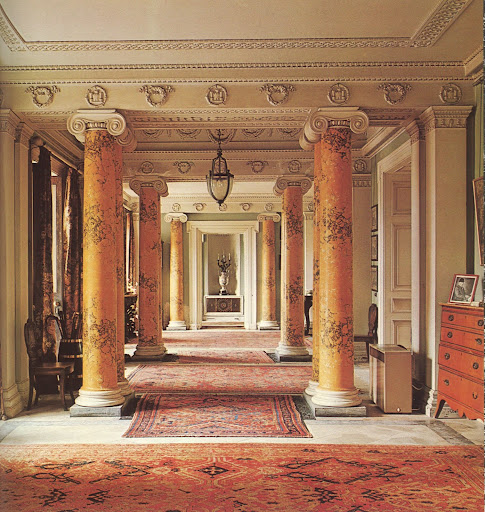 The Regency entrance hall of an Irish estate that covers most of Fota Island.