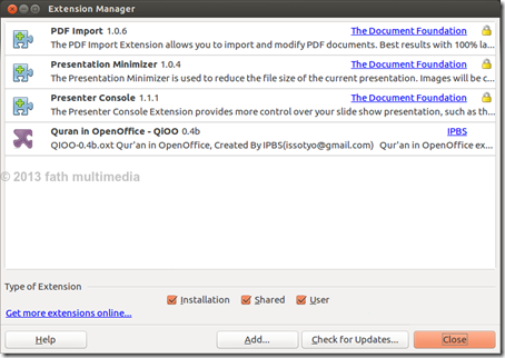 Add Qioo on Extension Manager_LibreOffice
