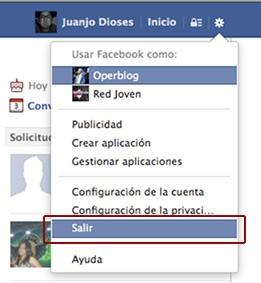 Cerrar sesión en Facebook.com