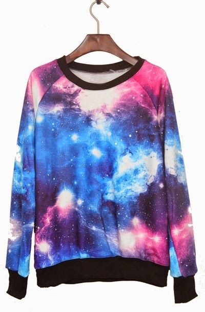 Pink and Blue Galaxy Print Pullover Sweatshirt from Thats Point