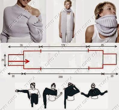 cuello bufanda con mangas tricot o crochet