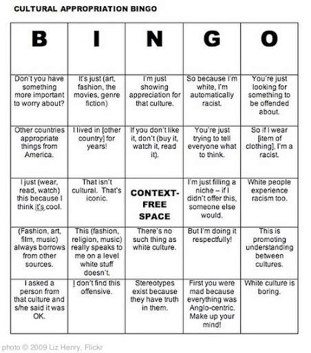 'Cultural Appropriation Bingo' photo (c) 2009, Liz Henry - license: http://creativecommons.org/licenses/by-nd/2.0/