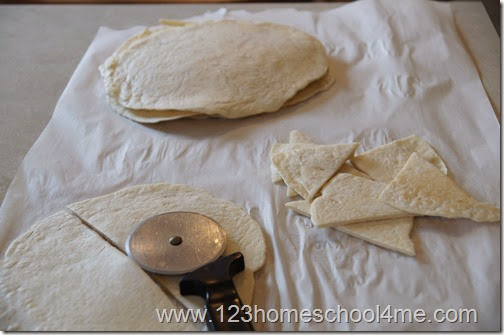hint: use a pizza cutter to quickly cut up the tortillas