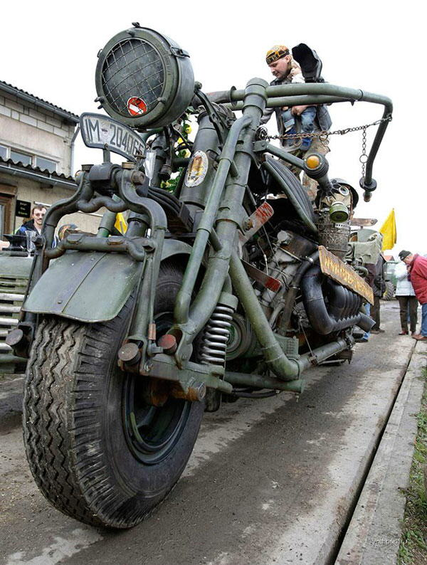 Motorbike monster assembled by hand : by group of enthusiasts headed by Tilo Niebel of the East German village of Zillah