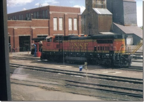 BNSF B40-8W #507 in Havre, Montana in May 2003