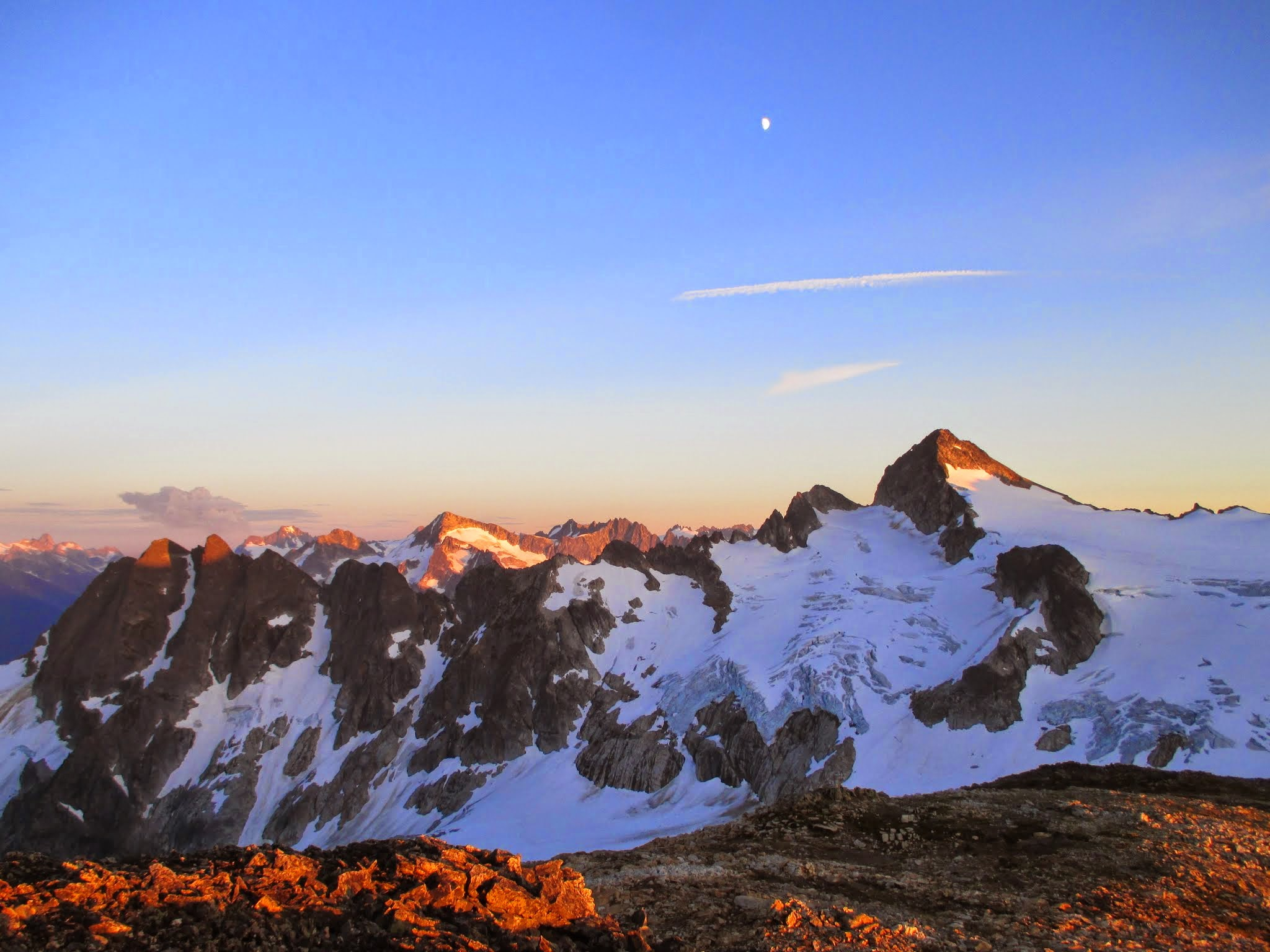 Snowfield, Mantis and Phalanx alpenglow