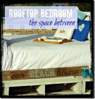 This rooftop bedroom is beachy and creative.