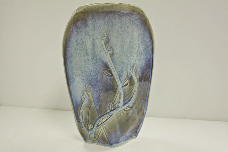 Hand Made Tulip  Blue Vase