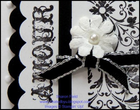 challenge, dcbd235, diva coffee break designs, clearly for you, sharon field, open scallop border punch, black and white, amour, big shot, texture, embossing, classic, paper daisies, basic jewels, pearls