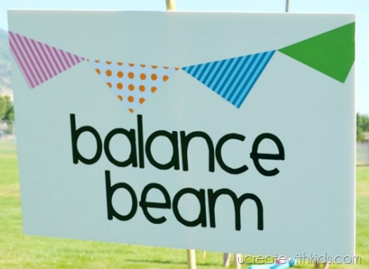 DIY Olympic Games Balance Beam Sign