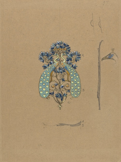 Eugène_Samuel_Grasset_-_Design_for_a_Belt_Buckle_with_Peacock_Motif_-_Google_Art_Project
