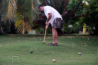 Philip playing croquet