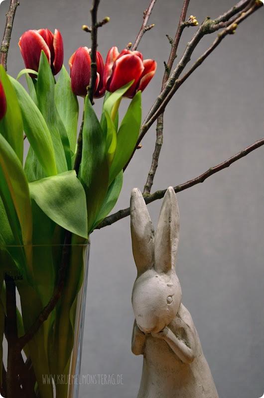 rote Tulpen (02) mit Kirschblütenzweigen am FridayFlowerday