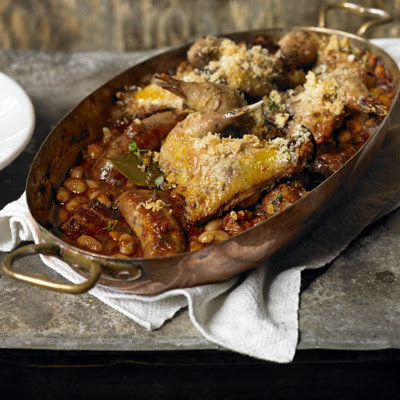 Cassoulet of bacon & Toulouse sausage with confit pheasant