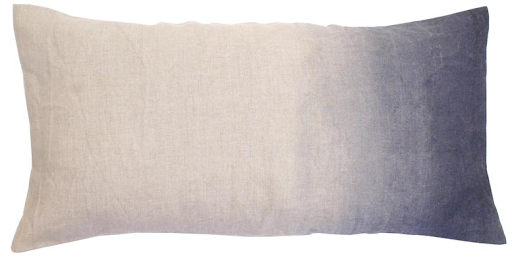 This hand-painted linen pillow from ABC Carpet & Home could cozy up an outdoor reception's cocktail area.