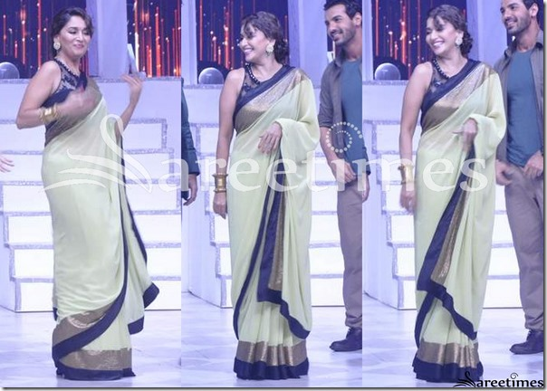 Madhuri_Dixit_Plain_Saree