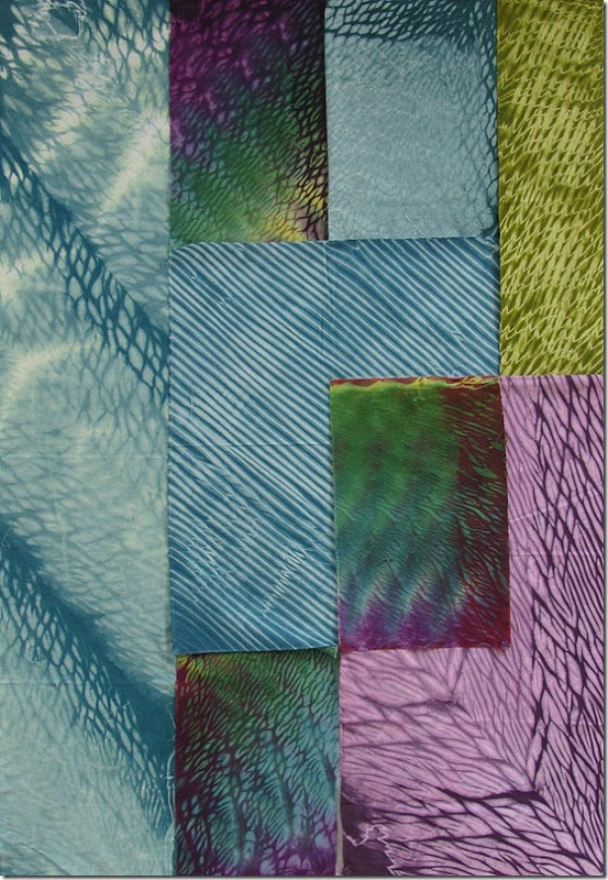 Shibori on the design wall pourpleturqgreen