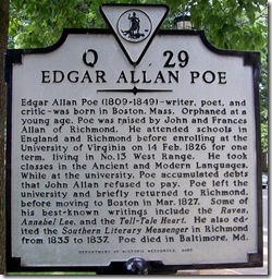 Edgar Allan Poe marker Q-29, Charlottesville, VA (Click any photo to enlarge)