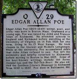 Edgar Allan Poe marker Q-29, Charlottesville, VA (Click any photo to enlarge)