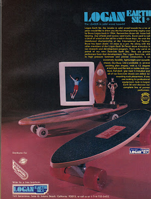 This ad shows a very early board with clay wheels along with an early 1960's trophy and then the up graded version of a Duralite laminated board