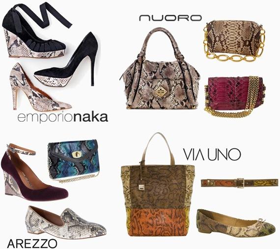 Estampas de cobra nas bolsas e sapatos: Dicas do Shopping Crystal – Inverno 2012.