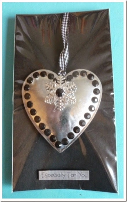 tin gemmed heart christmas tag tree decoration