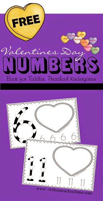 FREE Valentines Day Numbers Book - A fun way for Toddler, Preschool, PreK, and Kindergarten age children to practice numbers, counting, and more! Counting with conversation hearts, trace numbers, and more.