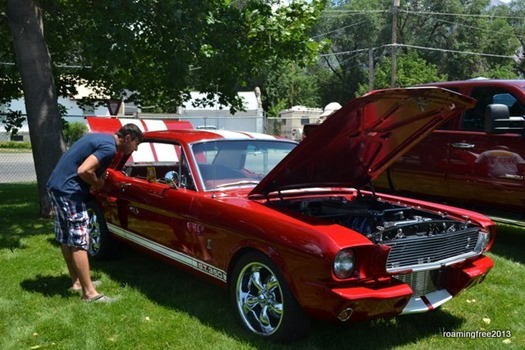 Nicolas checks out the Mustang!