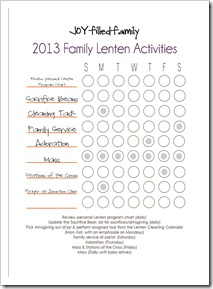 2013 Lenten Activity Chart JOYfilledfamily