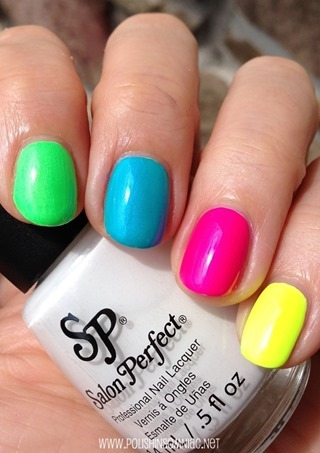 Salon Perfect Neon POP Collection - Loopy Lime, Bermuda Baby, Fired Up Fuchsia, Yowza Yellow (over Sugar Cube)