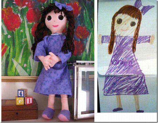 Brinquedos de pelúcia feitos a partir de desenhos de crianças (9)