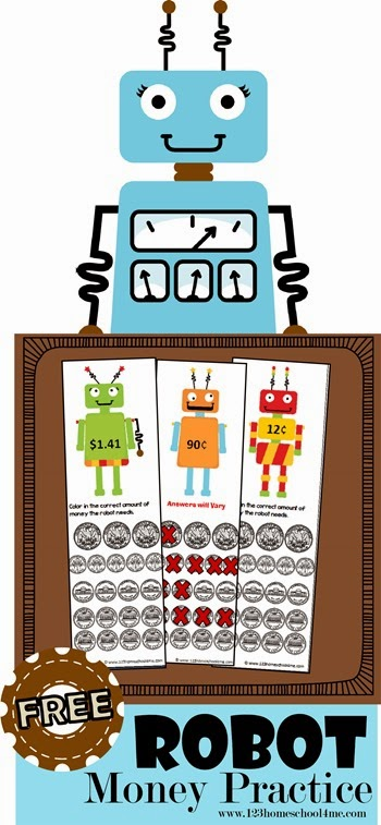 Robot Money Practice - free printable to help kids count money in Kindergarten 1st grade 2nd grade and 3rd grade