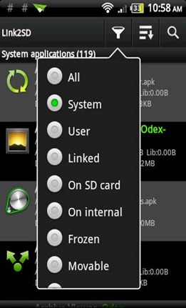 system apps on link2sd