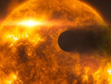 ilustração de exoplaneta ao redor de estrela
