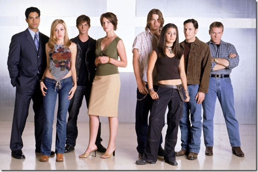L to R: Adam Rodriguez, Majandra Delfino, Jason Behr, Katherine Heigl, Brendan Fehr, Shiri Appleby, Nick Wechsler, William Sadler. Photo: Randee St. Nicholas/UPN.