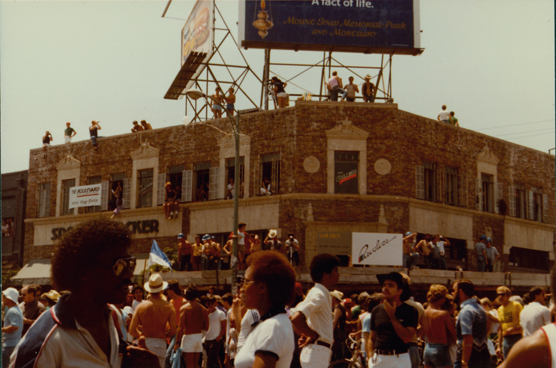 Gathering at Revolver for the Los Angeles Christopher Street West pride parade. Circa 1984.