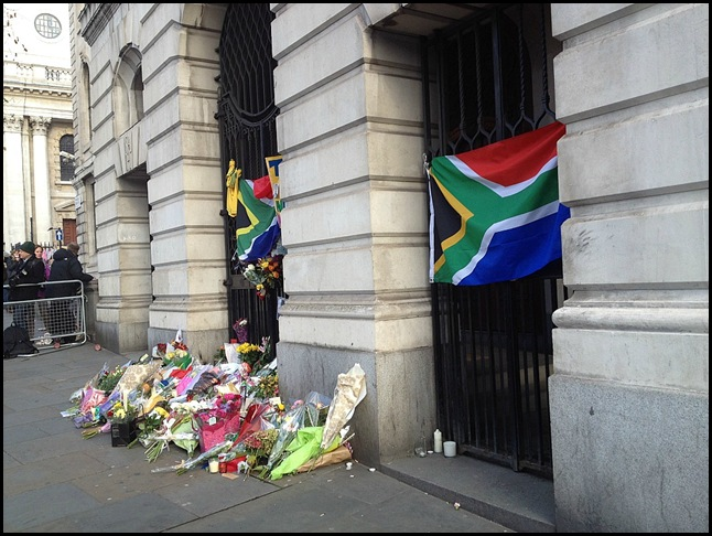 Tributes to Nelson Mandela at South Africa House