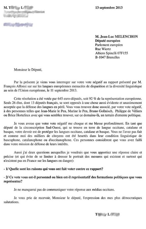 Letra a Mélenchon