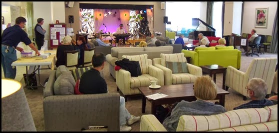 Members of the Club and residents enjoying the mini-concert between 3 and 4 pm