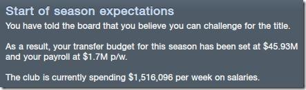 Season expectations