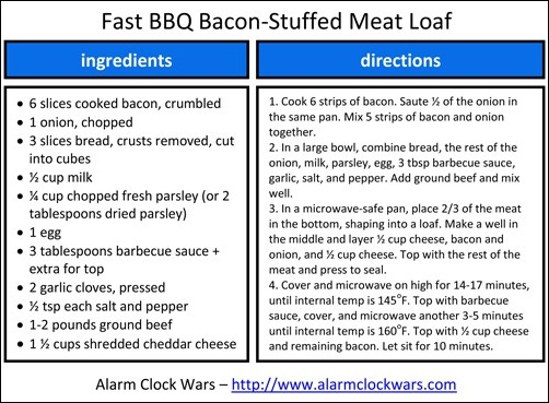 fast bbq bacon-stuffed meat loaf