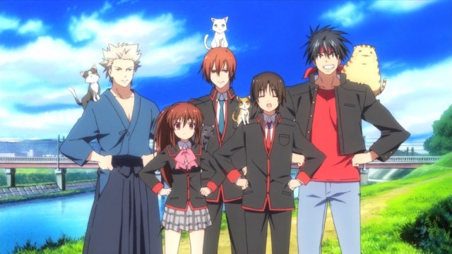 "The original ""Little Busters"" members, from left to right: Kengo, Rin, Kyousuke, Riki, and Masato"
