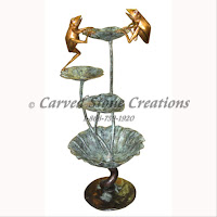Bronze Fountain, Frog Sitting on Lotus Leaf, 28x20xH52""