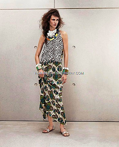 Marni H&M Long Silk Printed Dress, Colourful necklace, Flower necklace, Chunky bracelet in white and green , Silver Leather Sandals