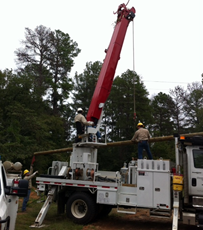 Utility Pole setting Truck