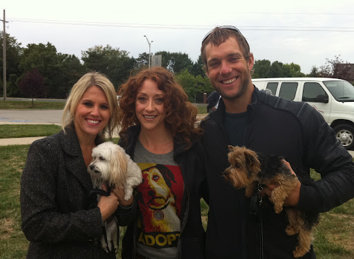 Royals team player, Alex Gordon, wife Jamie and their canine kids, Lucy and Ruby, join forces with Adopt-a-Pet.com's Abbie Moore to spread the word!