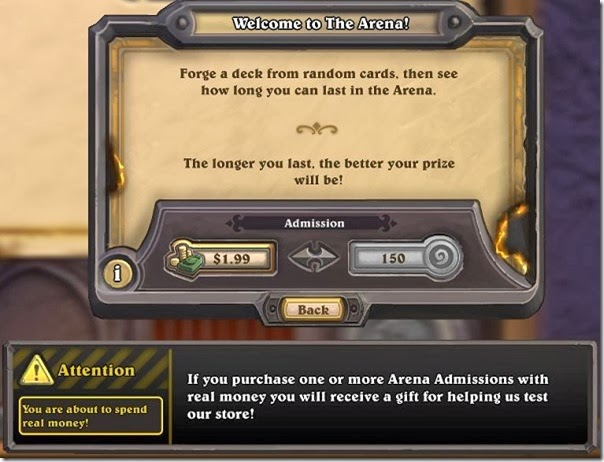 Spend real money in Hearthstone's Arena for future gold